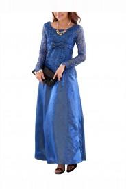 Blaues Abendkleid aus Satin mit Spitze