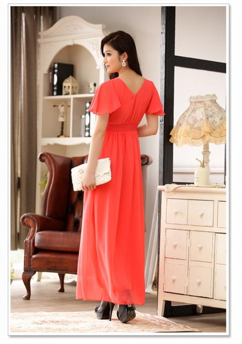 Rotes Abendkleid aus Chiffon mit kurzem Arm und Strass - online bestellen bei vipdress.de