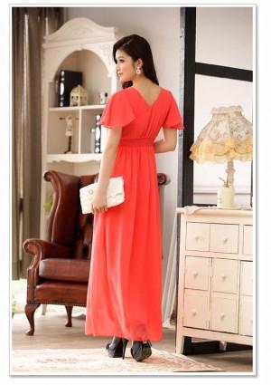 Rotes Abendkleid aus Chiffon mit kurzem Arm und Strass - günstig bestellen bei VIP Dress
