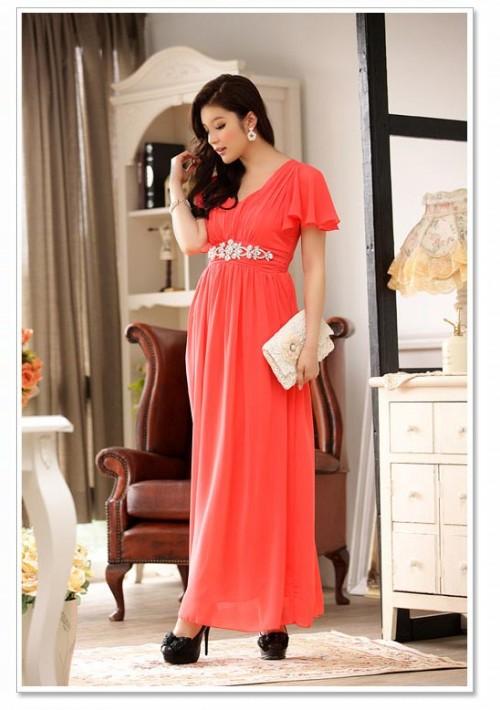Rotes Abendkleid aus Chiffon mit kurzem Arm und Strass - bei vipdress.de günstig shoppen