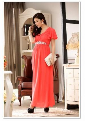 Rotes Abendkleid aus Chiffon mit kurzem Arm und Strass - hier günstig online bestellen