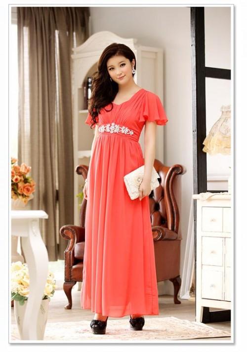 Rotes Abendkleid aus Chiffon mit kurzem Arm und Strass - bei VIP Dress online bestellen