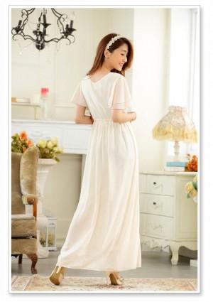 Chiffon-Abendkleid in Beige mit zarten Ärmeln - bei VIP Dress online bestellen