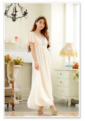 Chiffon-Abendkleid in Beige mit zarten Ärmeln - hier günstig online bestellen