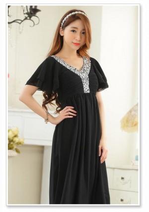 Schwarzes Abendkleid aus Chiffon mit kurzen Ärmeln - schnell und günstig bei VIP Dress