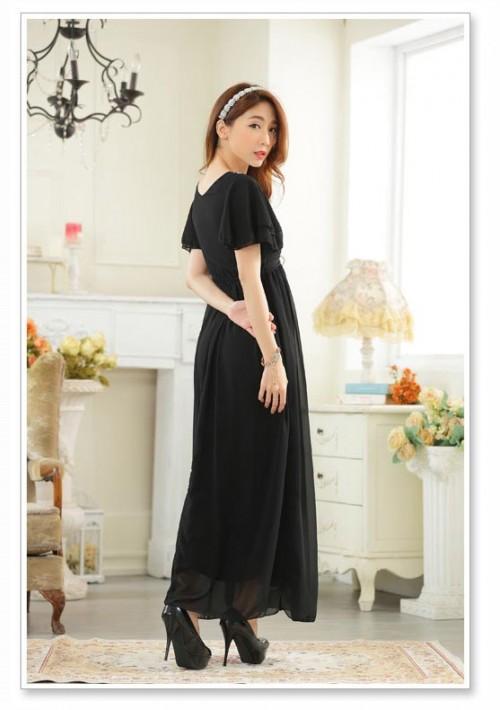 Schwarzes Abendkleid aus Chiffon mit kurzen Ärmeln - günstig bei VIP Dress