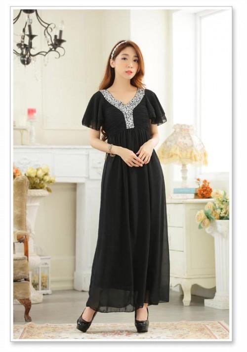 Schwarzes Abendkleid aus Chiffon mit kurzen Ärmeln - online bestellen bei vipdress.de
