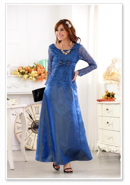 Blaues Abendkleid aus Satin mit Spitze - online bestellen bei vipdress.de