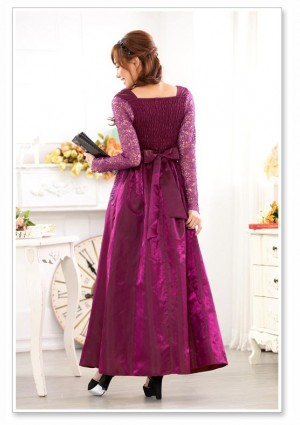 Satin-Abendkleid in Lila mit Spitze - bei VIP Dress günstig kaufen