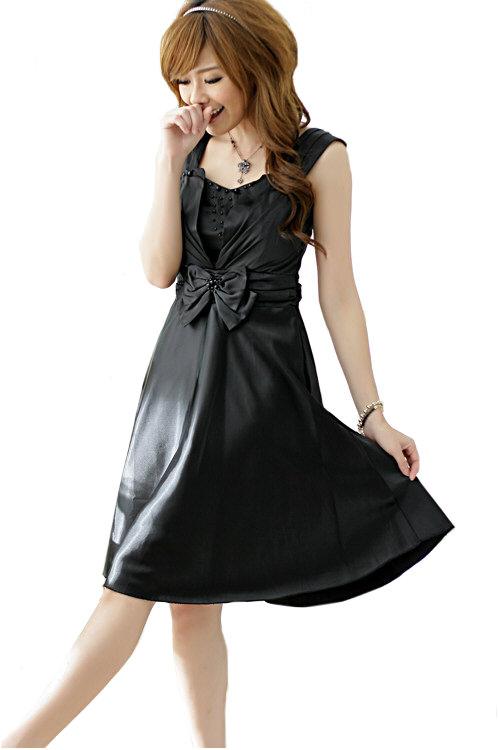 Kurzes Ballkleid in Schwarz mit Taillenschleife - bei VIP Dress online bestellen