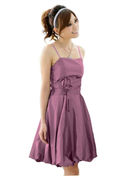 Satin-Abendkleid mit Ballonrock und Blüte in Lila  - bei VIP Dress günstig kaufen