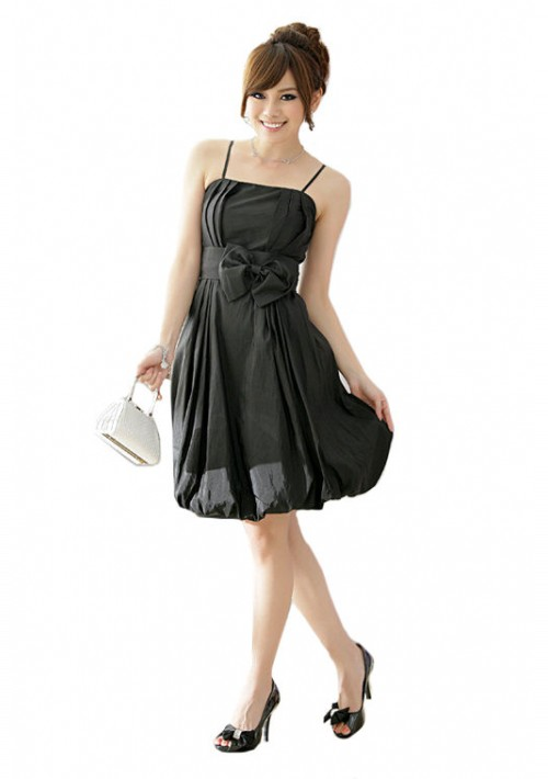 Ballkleid in schwarzem Satin mit Ballonrock und Zierschleife - günstig kaufen bei vipdress.de