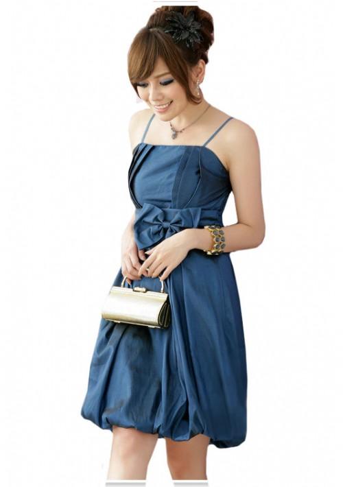 Satin-Ballkleid in Blau mit Ballonrock und Schleife - bei VIP Dress online bestellen