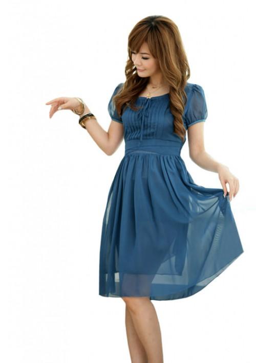 Chiffon-Cocktailkleid in Blau mit Vintage-Look - günstig bei VIP Dress