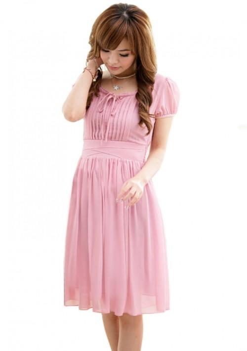 Chiffonkleid im Vintage-Stil in Rosa - schnell und günstig bei VIP Dress