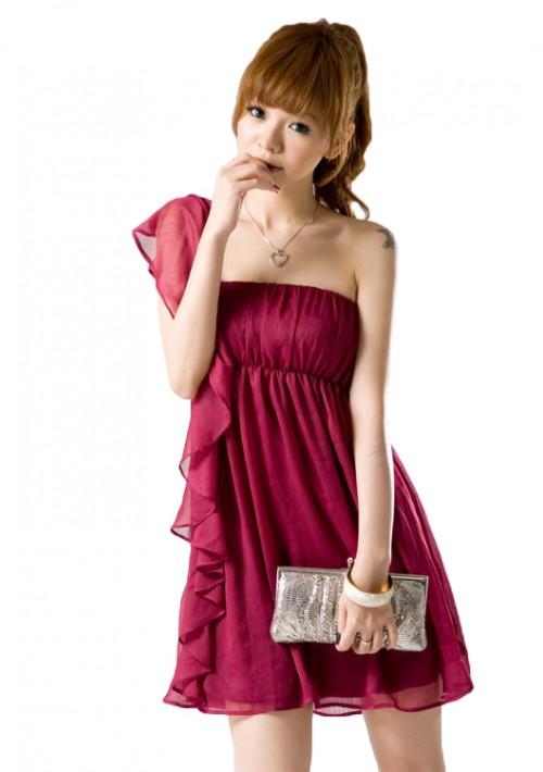 Chiffonkleid mit Volant und One-Shoulder-Schnitt in Rot - günstig kaufen bei vipdress.de