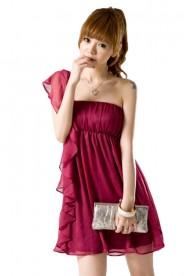 Chiffonkleid mit Volant und One-Shoulder-Schnitt in Rot