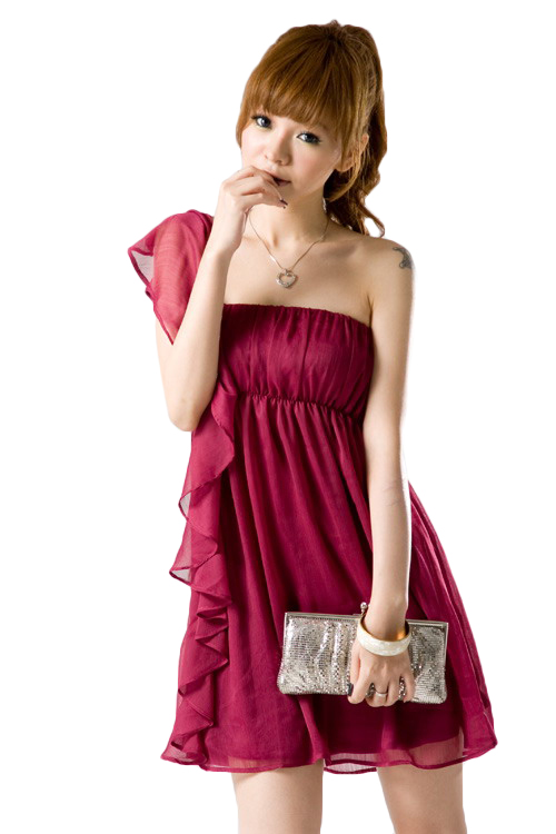 new product 3f3aa d4868 Chiffonkleid mit Volant in Rot online kaufen ✮