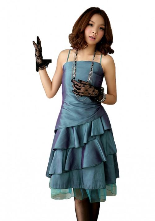 Satin Abiballkleid im Stufenlook in Grün - günstig bestellen bei VIP Dress