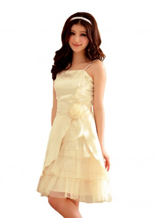 Abiballkleid mit stilvollem Lagenlook in Beige -