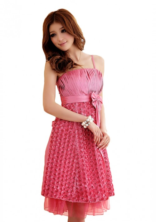 Abiballkleid in Pink mit vielen Blüten - schnell und günstig bei VIP Dress