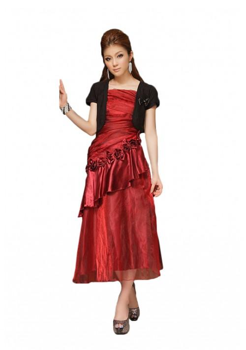 Langes Abendkleid mit Deko-Blumen in Rot - hier günstig online bestellen
