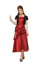 Langes Abendkleid mit Deko-Blumen in Rot