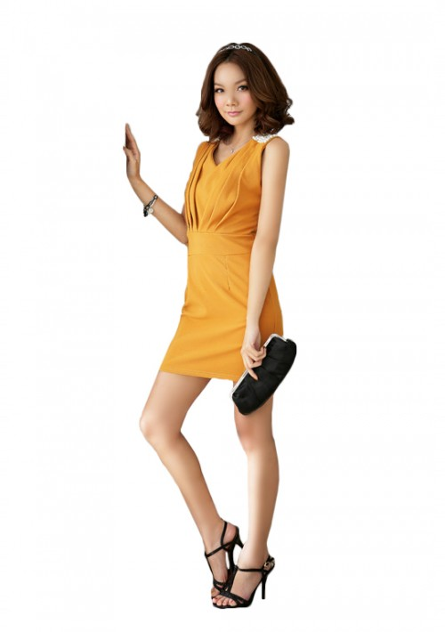 Elegantes Cocktailkleid in Gelb mit Raffungen - schnell und günstig bei VIP Dress