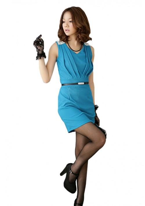 Elegantes Businesskleid in Blau mit Raffungen - günstig kaufen bei vipdress.de