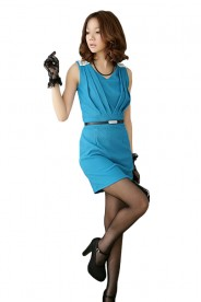 Elegantes Businesskleid in Blau mit Raffungen