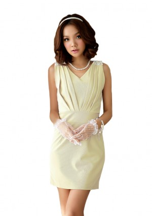 Cocktailkleid  in Beige mit Raffungen - <br /> <b>Notice</b>:  Undefined index: altTail in <b>/home/vipdress/public_html/tools/smarty/compile/3a21d04bf1b909ed03be781795539a91ac65494e.file.product.tpl.php</b> on line <b>264</b><br />