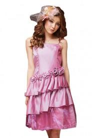 Satin Ballkleid im Petticoatschnitt in Rosa
