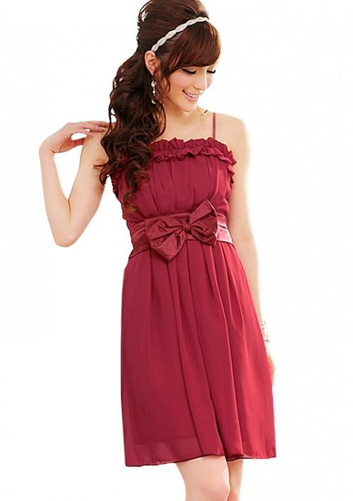 Chiffon Abendkleid in Rot mit Rüschen und Schleife - online bestellen bei vipdress.de