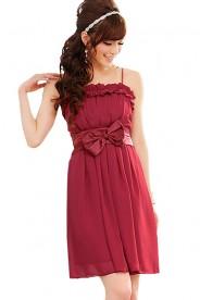 Chiffon Abendkleid in Rot mit Rüschen und Schleife