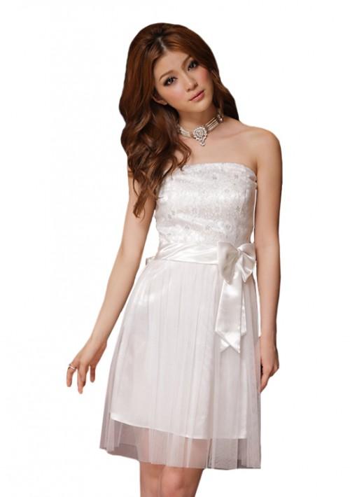 Abiballkleid in Weiß mit Tüll und Stickblumen - günstig kaufen bei vipdress.de