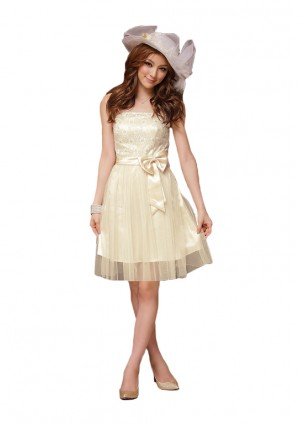 Bandeaukleid in Beige mit Tüllrock und Stickblumen - <br /> <b>Notice</b>:  Undefined index: altTail in <b>/home/vipdress/public_html/tools/smarty/compile/3a21d04bf1b909ed03be781795539a91ac65494e.file.product.tpl.php</b> on line <b>264</b><br />