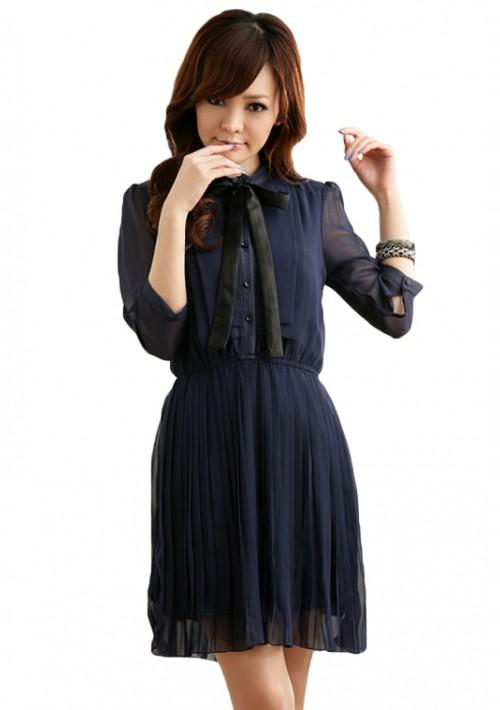 Edles Chiffon Minikleid mit Halsband in Blau - günstig bei VIP Dress