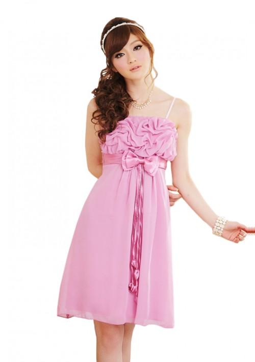 Chiffon Cocktailkleid mit Schleifen in Rosa - günstig bei VIP Dress