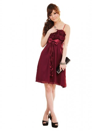 Chiffon Cocktailkleid in edlem Rot -