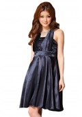 Schimmerndes Satin Cocktailkleid in Blau