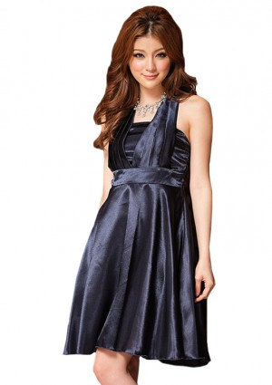 Schimmerndes Satin Cocktailkleid in Blau -