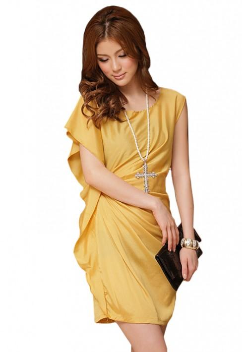 Vintage Partykleid in Gelb mit kurzen Ärmeln - hier günstig online bestellen