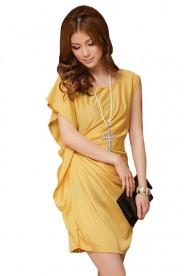 Vintage Partykleid in Gelb mit kurzen Ärmeln