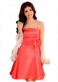 Abendkleid mit Glockenrock in rotem Satin