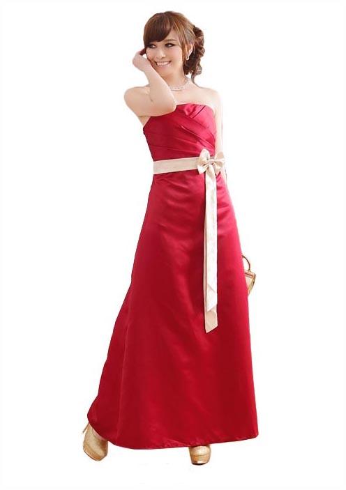 Rotes Abendkleid aus Satin mit heller Zierschleife - günstig bei VIP Dress