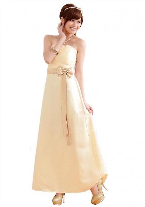 Beiges Satin Abendkleid mit Schleifen  - bei VIP Dress günstig kaufen