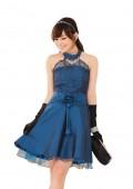 Blaues Satin Abendkleid mit Spitzen