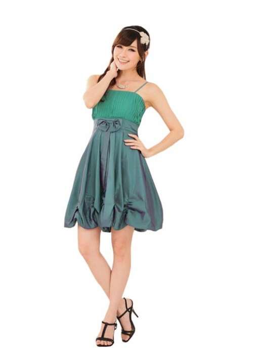 Ballonlook Abendkleid aus Satin in Grün - günstig bestellen bei VIP Dress