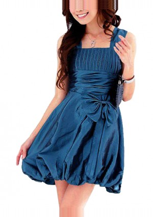 Cocktailkleid in Blau mit Taillenband und Ballon-Optik -