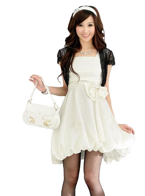Weißes Cocktail-Kleid mit Ballonrock und Taillenband - hier günstig online bestellen
